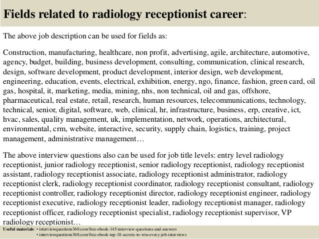 Top 10 radiology receptionist interview questions and answers – Receptionist Job Description