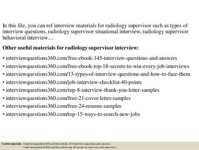 top 10 radiology supervisor interview questions and answers