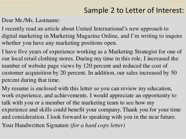 Cover Letter Samples Raytheon 11
