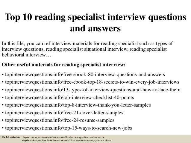 Great Top 10 Reading Specialist Interview Questions And Answers In This File, You  Can Ref Interview ... Within Reading Specialist Resume