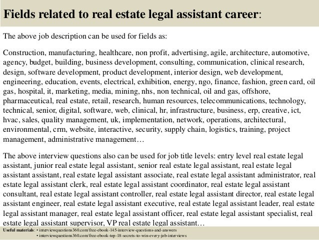Top  Real Estate Legal Assistant Interview Questions And Answers