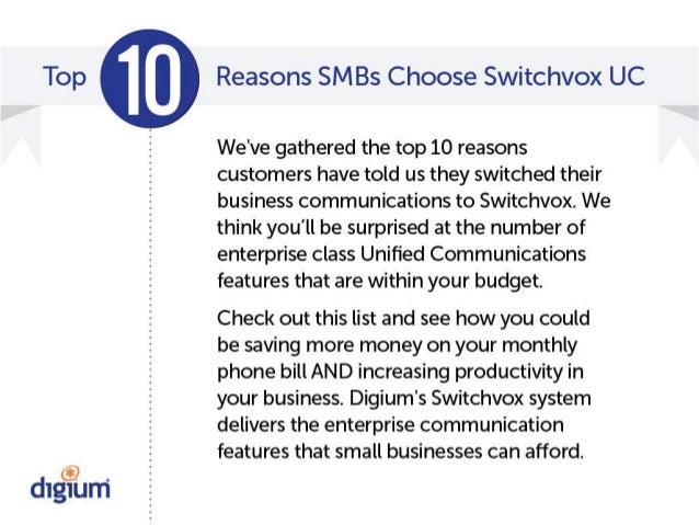 Top 10 Reasons SMBs Choose Switchvox