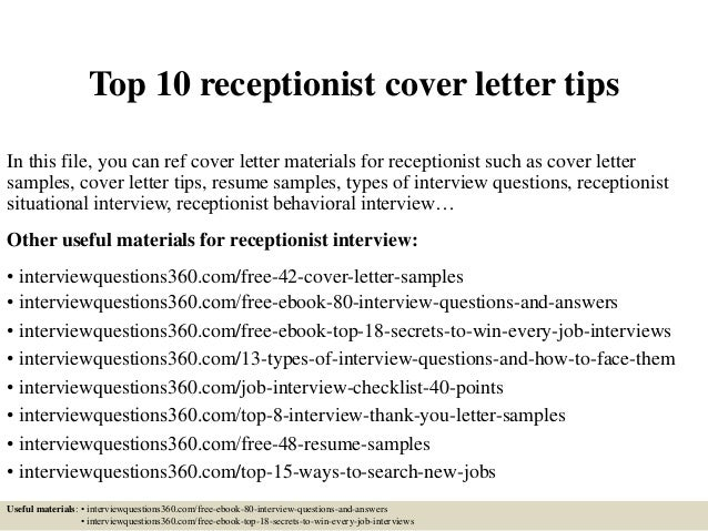 Top 10 receptionist cover letter tips for Cover letter for medical receptionist position with no experience