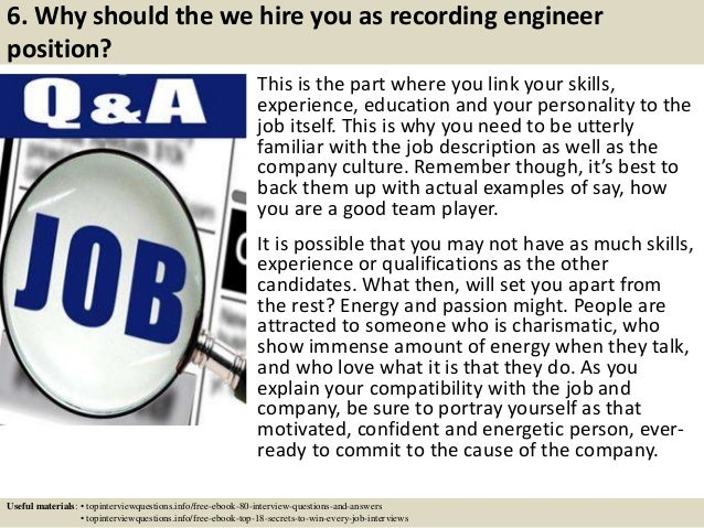 Top 10 recording engineer interview questions and answers – Recording Engineer Job Description