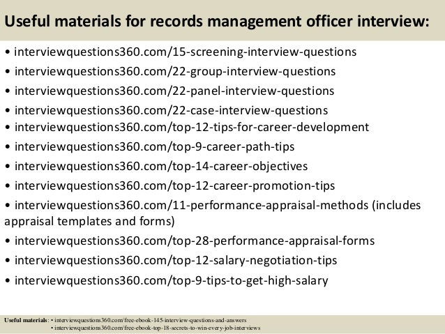 top 10 records management officer interview questions and