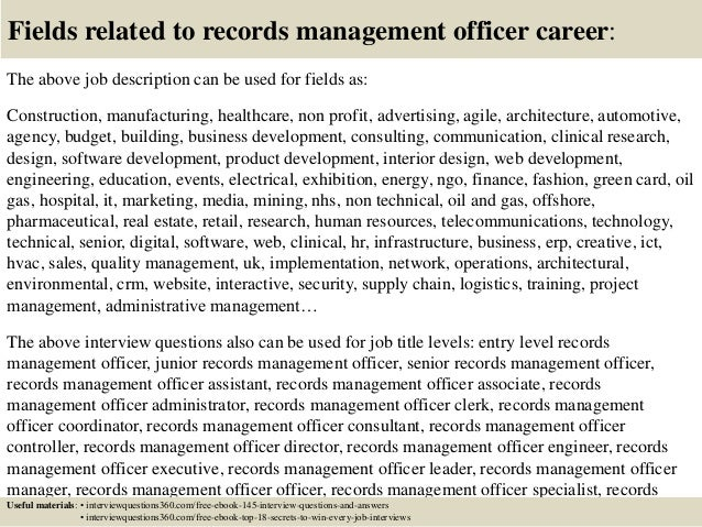 Top 10 records management officer interview questions and ...