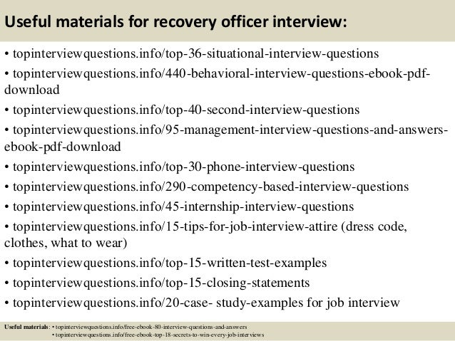 12 useful materials for recovery officer