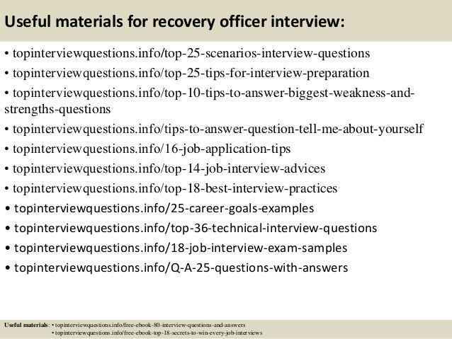 13 useful materials for recovery officer