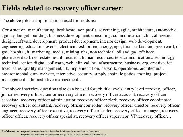 17 fields related to recovery officer