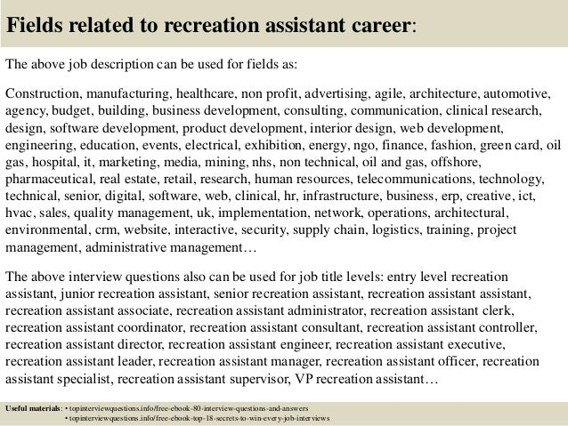 Top 10 recreation assistant interview questions and answers
