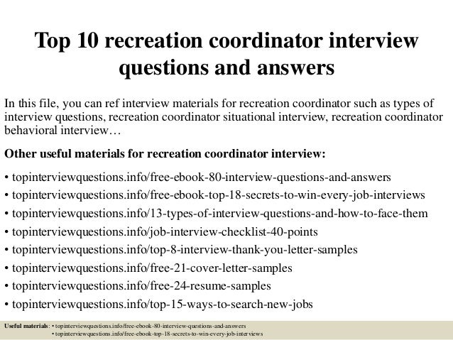 Top 10 Recreation Coordinator Interview Questions And Answers