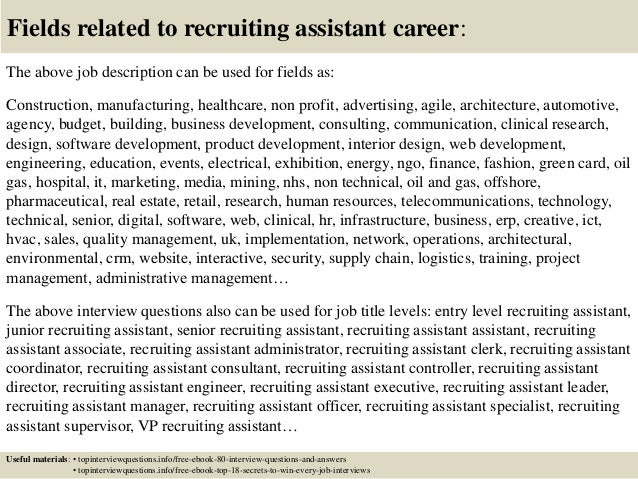 17 fields related to recruiting assistant - Recruiting Assistant