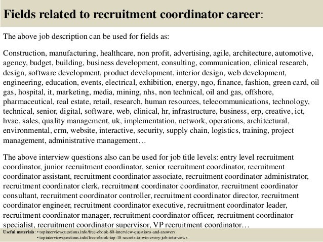 Top 10 recruitment coordinator interview questions and answers – Recruiting Coordinator Job Description