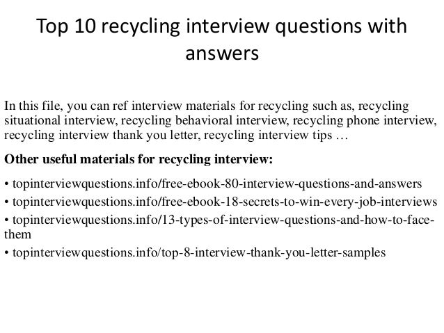 Top 10 Recycling Interview Questions With Answers