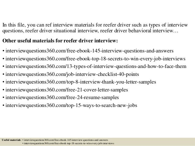 Top 10 reefer driver interview questions and answers
