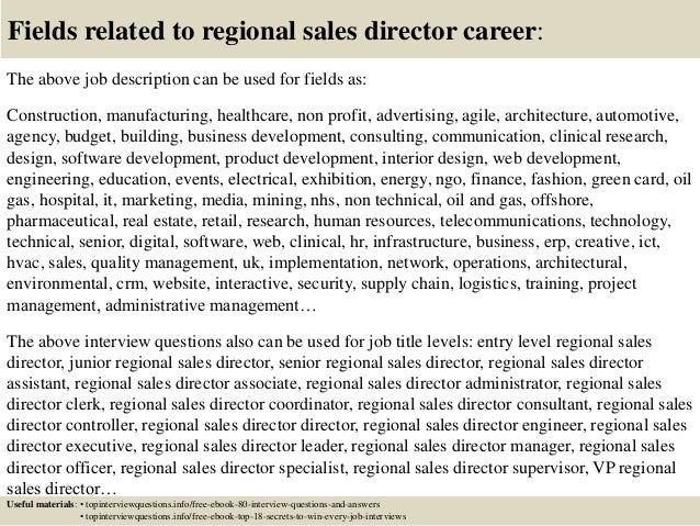 Top 10 regional sales director interview questions and answers – Sales Director Job Description