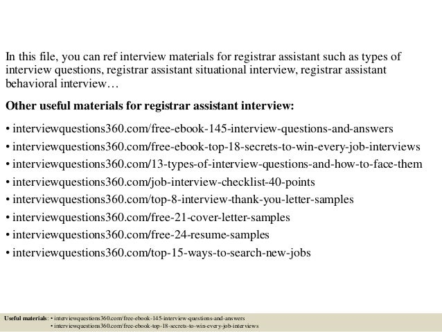 top 10 registrar assistant interview questions and answers - Associate Registrar Sample Resume