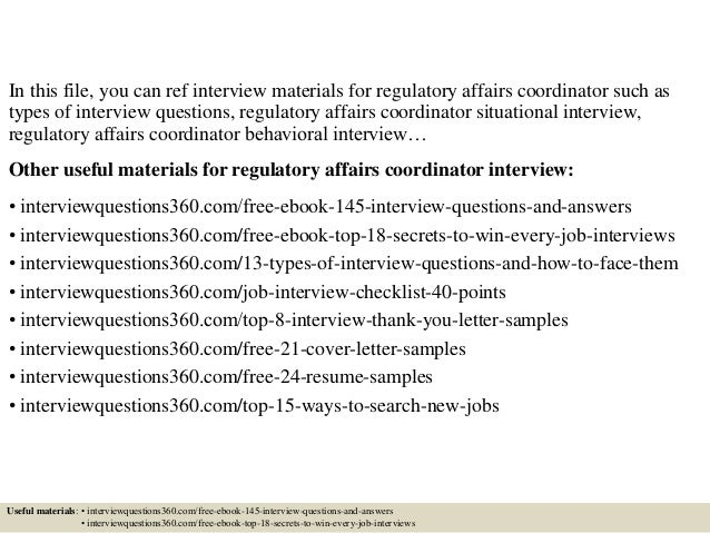 top 10 regulatory affairs coordinator interview questions and answers - Regulatory Affairs Cover Letter