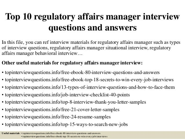top 10 regulatory affairs manager interview questions and