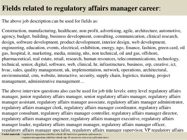 Top 10 regulatory affairs manager interview questions and answers
