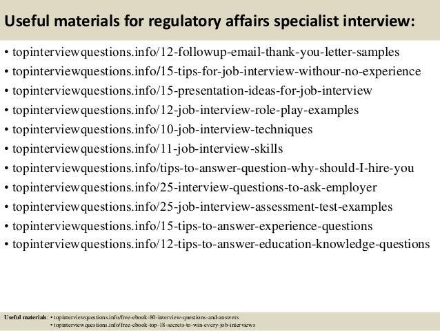 14 useful materials for regulatory affairs - Regulatory Affairs Cover Letter