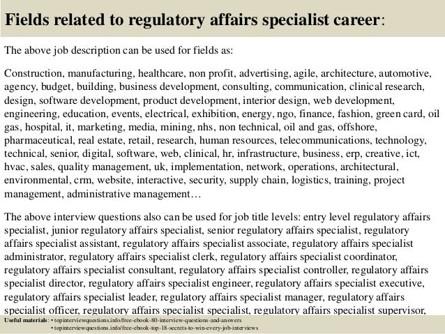 Top 10 regulatory affairs specialist interview questions and answers