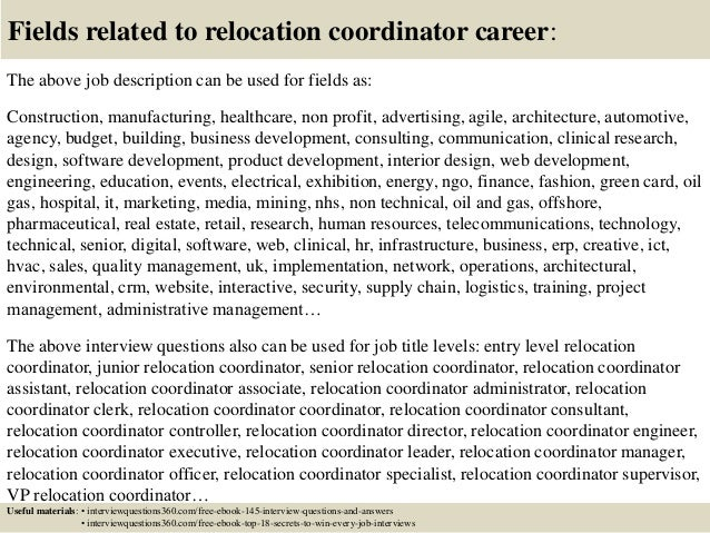 top 10 relocation coordinator interview questions and answers