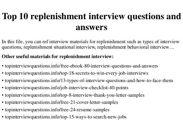 Top 10 replenishment interview questions and answers