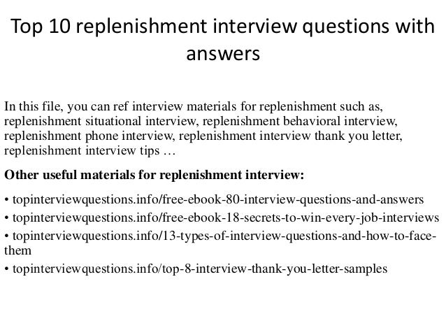 Top 10 replenishment interview questions with answers