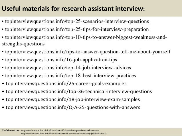 Top 10 research assistant interview questions and answers