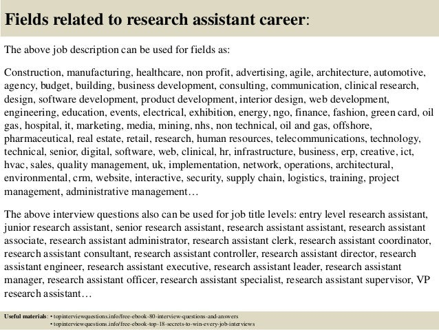Top 10 research assistant interview questions and answers – Research Assistant Job Description