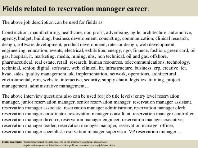 Top 10 reservation manager interview questions and answers