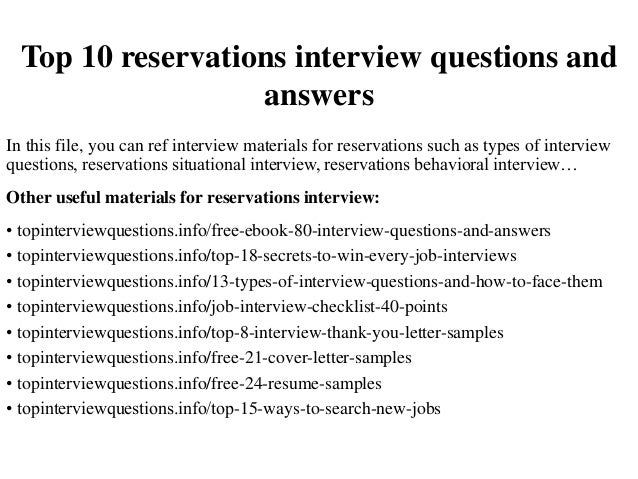 top 10 reservations interview questions and answers rh slideshare net Reservation Agent Responsibilities Hotel Front Desk