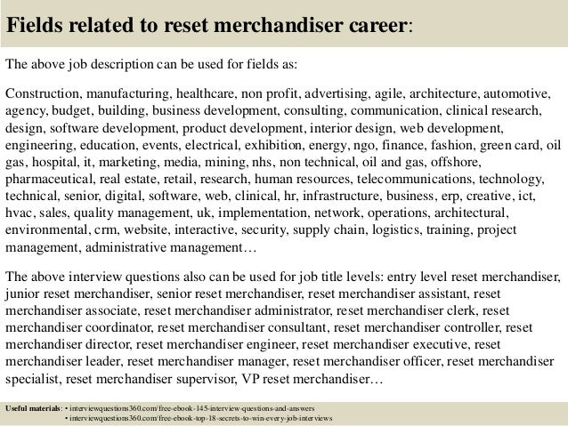 Top 10 Reset Merchandiser Interview Questions And Answers