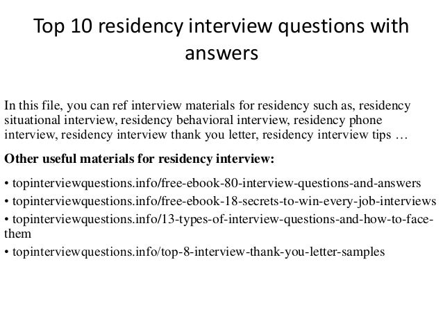 Top 10 residency interview questions with answers