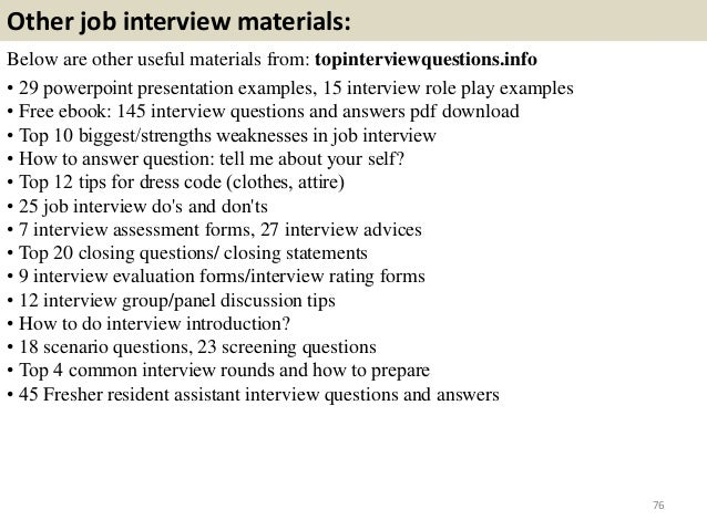 resident assistant interview questions