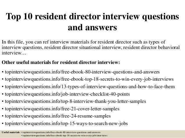 Cover Letter Resident Director