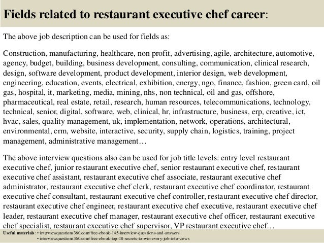 Top 10 restaurant executive chef interview questions and answers – Executive Chef Job Description