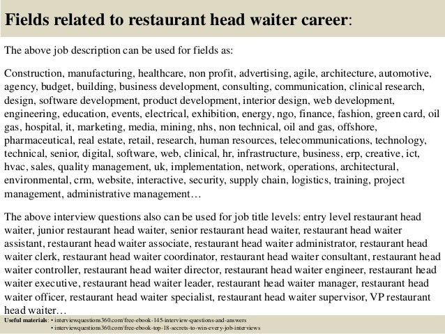18 Fields Related To Restaurant Head Waiter Career The Above Job Description