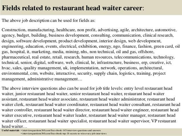 waitress duties resume top 10 restaurant head waiter interview