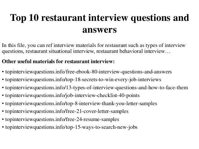 Restaurant Job Interview Questions  Server Interview Questions