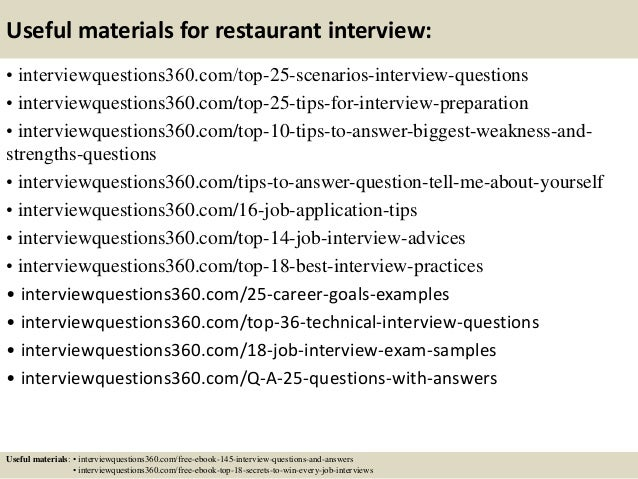 Charming ... 14. Useful Materials For Restaurant Interview: ... On Restaurant Interview Questions