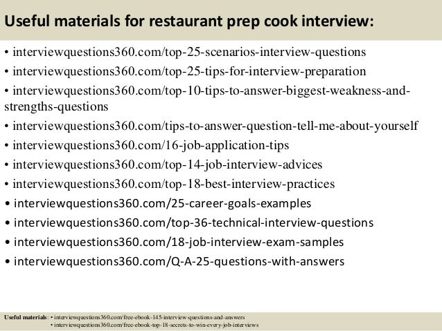 Top 10 restaurant prep cook interview questions and answers