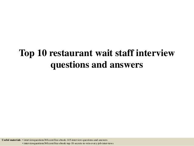 hotel restaurant interview questions