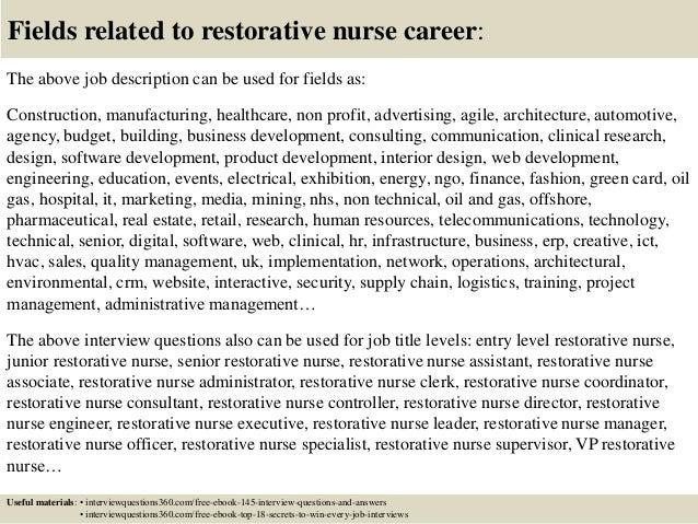 18 fields related to restorative nurse career the above job description restorative nursing assistant job