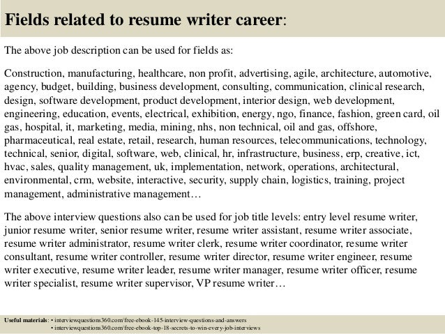 18 fields related to resume writer