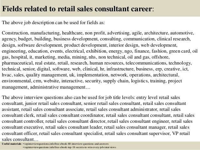 Top 10 retail sales consultant interview questions and answers – Sales Consultant Job Description