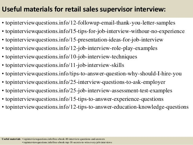 Top 10 retail sales supervisor interview questions and answers
