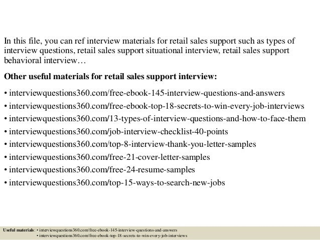 Top 10 retail sales support interview questions and answers