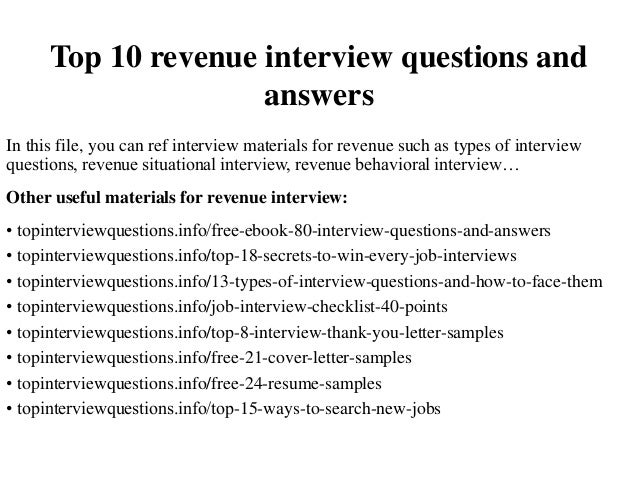 top 10 revenue interview questions and answers in this file you can ref interview materials - Situational Interview Questions And Answers